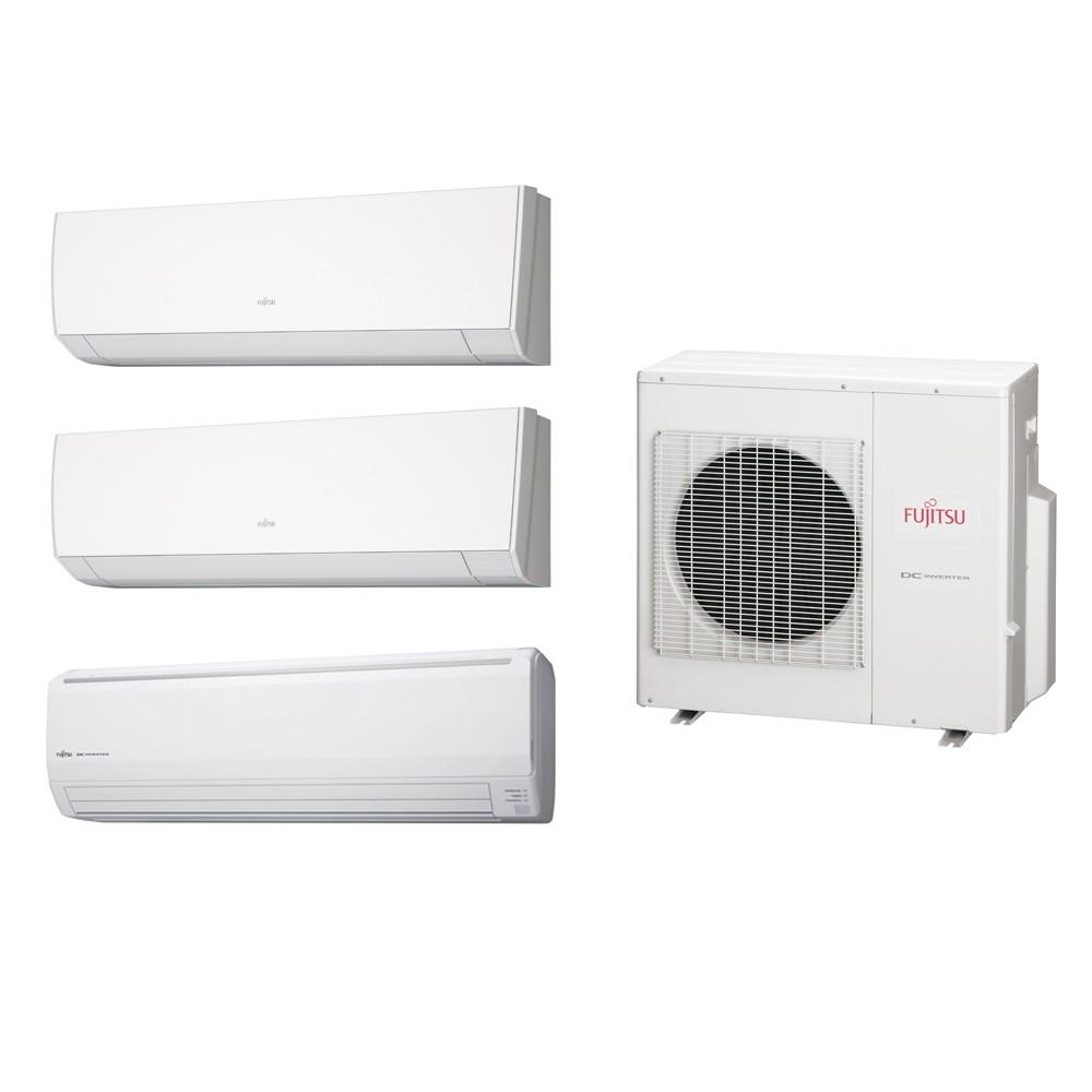 Ar Condicionado Multi Split Fujitsu (2x Evap HW 12.000 + 1x Evap HW 24.000 + cond 27.000 BTUs) Quente/Frio 220V